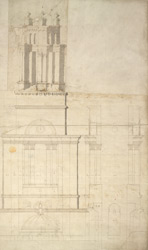Drawing of front elevation of the tower to St Anne's Church, Limehouse